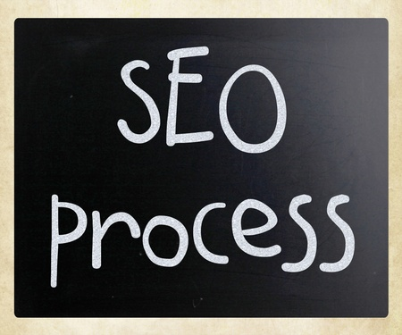 SEO process handwritten with white chalk on a blackboard photo