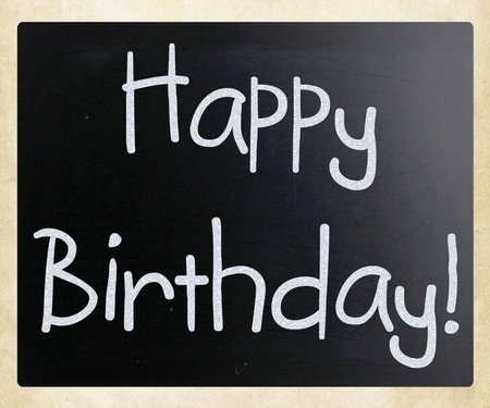 Happy Birthday handwritten with white chalk on a blackboard photo
