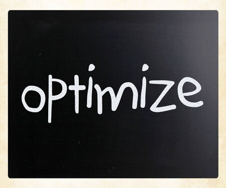 Optimize handwritten with white chalk on a blackboard photo