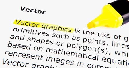 Text highlighted in yellow with felt tip pen Stock Photo - 13276802