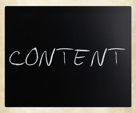 Content, handwritten with white chalk on a blackboard. Stock Photo - 13313489