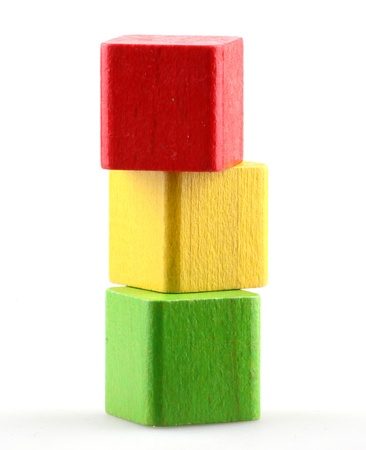 red building blocks: Wooden building blocks.