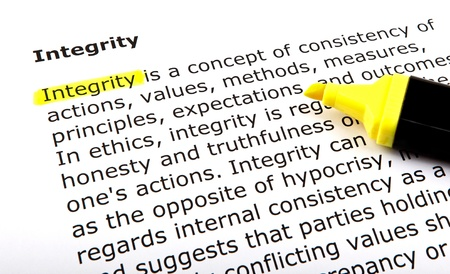 business ethics: Text highlighted with felt tip pen. Stock Photo