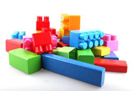 Wooden building blocks. photo