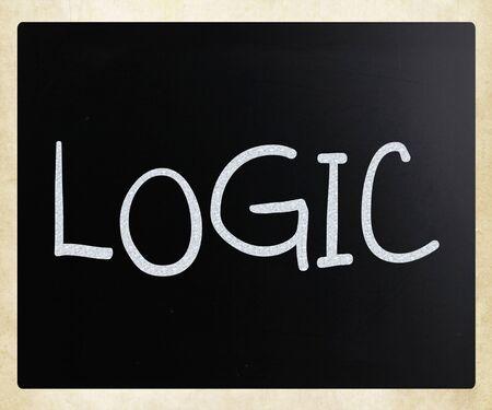 philosophy of logic: Logic handwritten with white chalk on a blackboard.