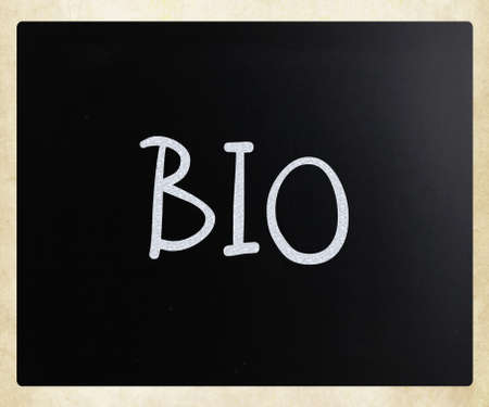 Bio, handwritten with white chalk on a blackboard. photo