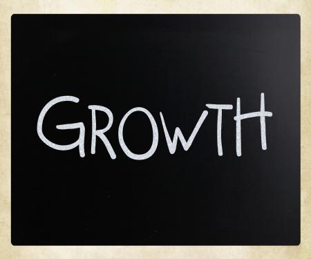 Growth, handwritten with white chalk on a blackboard. photo