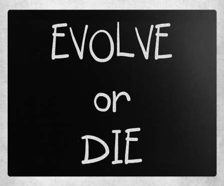"""evoluer: �Evolve or Die"""" manuscrite � la craie blanche sur un tableau noir Banque d'images"""