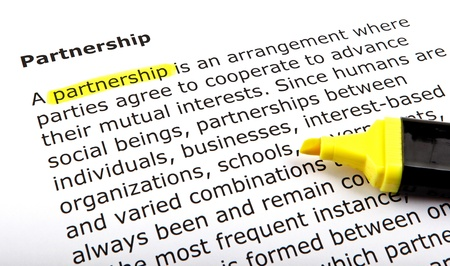 Partnership - Text highlighted with felt tip pen. Stock Photo - 14375550