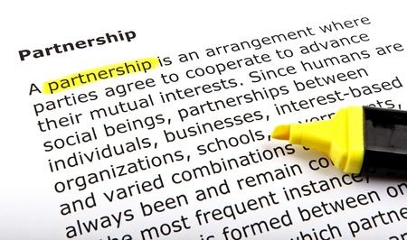 Partnership - Text highlighted with felt tip pen. Stock Photo - 14375550