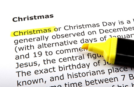 Christmas - Text highlighted with felt tip pen.