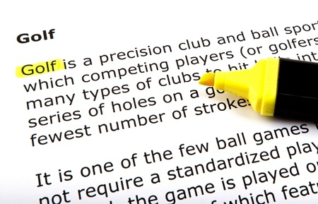 Golf - Text highlighted with felt tip pen. Stock Photo - 14375236