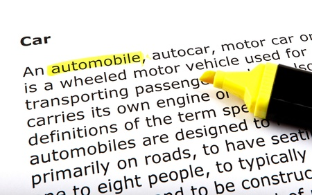 Automobile - Text highlighted with felt tip pen. photo