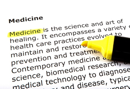 Medicine - Text highlighted with felt tip pen. Stock Photo - 14375274