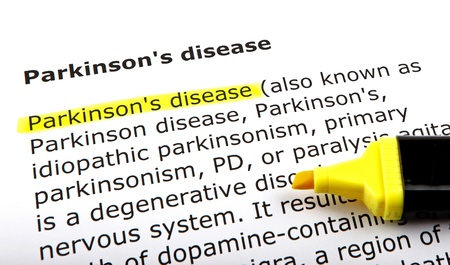 Parkinson's disease - Text highlighted with felt tip pen. Stock Photo - 14375503