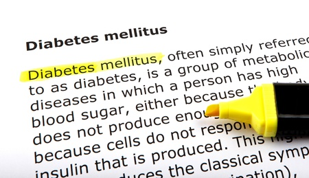 Diabetes mellitus - Text highlighted with felt tip pen. photo