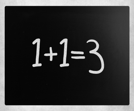 1+1=3 handwritten with white chalk on a blackboard Stock Photo - 14401146
