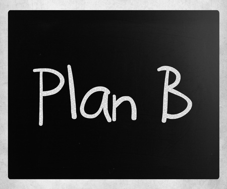 Plan B handwritten with white chalk on a blackboard photo