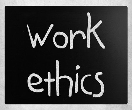 'Work Ethics' handwritten with white chalk on a blackboard photo