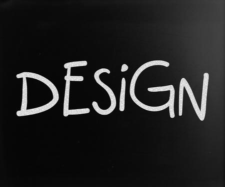 The word Design handwritten with white chalk on a blackboard Stock Photo