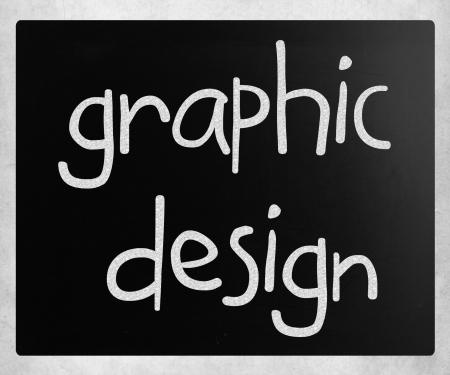 Graphic design handwritten with white chalk on a blackboard photo