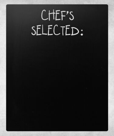 learning to cook: Chefs Selected handwritten with white chalk on a blackboard