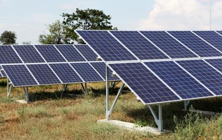 typefaces: Solar panels at a solar power plant. Stock Photo