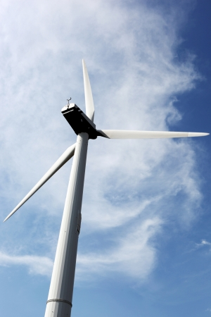 stock photos: Wind turbines on hight sky