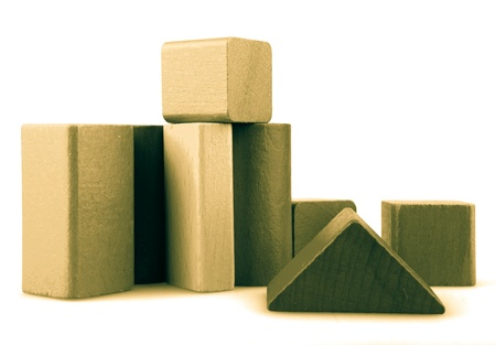 Wooden building blocks isolated on white background. Stock Photo - 15462011