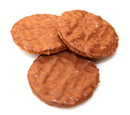 chocolate biscuits isolated on white. photo
