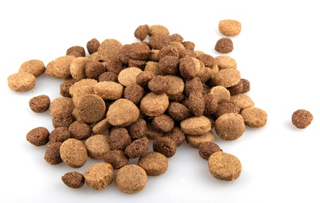 Dry dog food on white background. photo