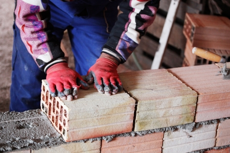 construction mason worker bricklayer. Stock Photo