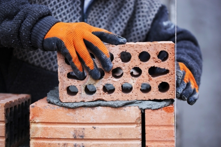 construction mason worker bricklayer. Stock Photo - 16751292