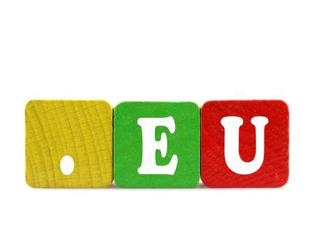 eu - isolated text in wooden building blocks Stock Photo - 18525453