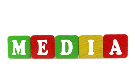 media - isolated text in wooden building blocks Stock Photo - 18525466
