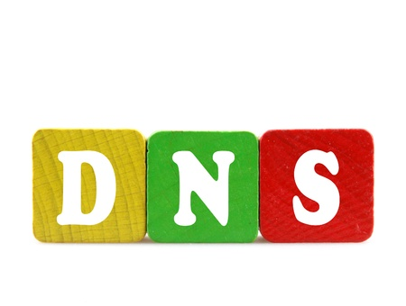 dns: dns - isolated text in wooden building blocks Stock Photo