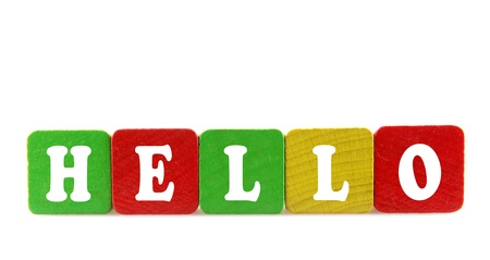 dialects: hello - isolated text in wooden building blocks