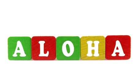dialects: aloha - isolated text in wooden building blocks