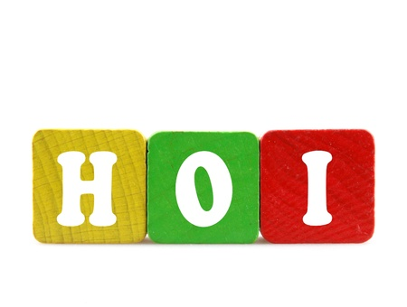 dialects: hoi - isolated text in wooden building blocks