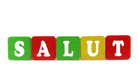 dialects: salut - isolated text in wooden building blocks