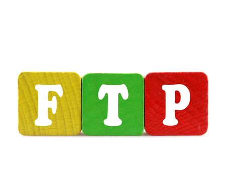 ftp: ftp - isolated text in wooden building blocks