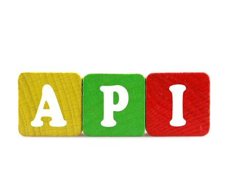 api: api - isolated text in wooden building blocks Stock Photo