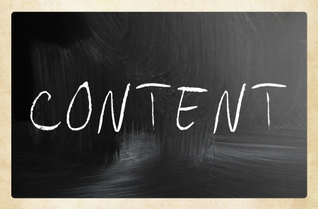 backlink: The word Content handwritten with white chalk on a blackboard.