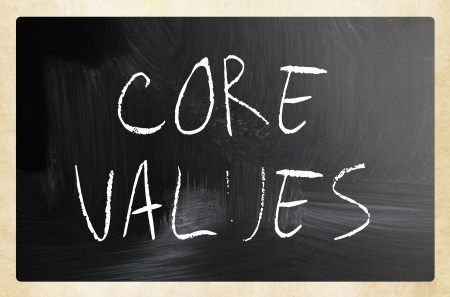 nucleo: Concepto de la ética - valores a mano con tiza blanca sobre una pizarra Foto de archivo