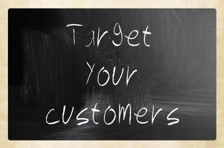 Target your customers handwritten with white chalk on a blackboard photo