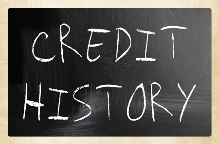 credit report: Credit history handwritten with white chalk on a blackboard Stock Photo