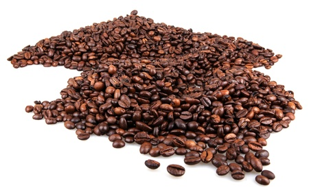 Brown coffee beans isolated on white background photo