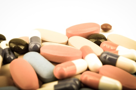 uppers: pills and capsules. Stock Photo