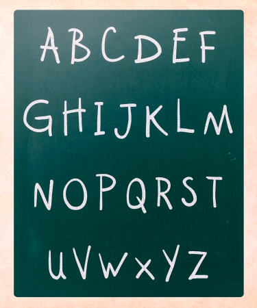 prinitng block: Complete english alphabet handwritten with white chalk on a blackboard