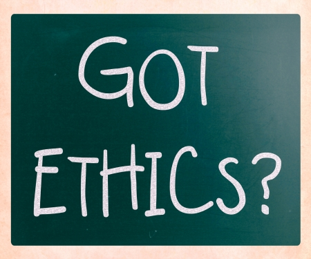 'Got Ethics?' handwritten with white chalk on a blackboard photo